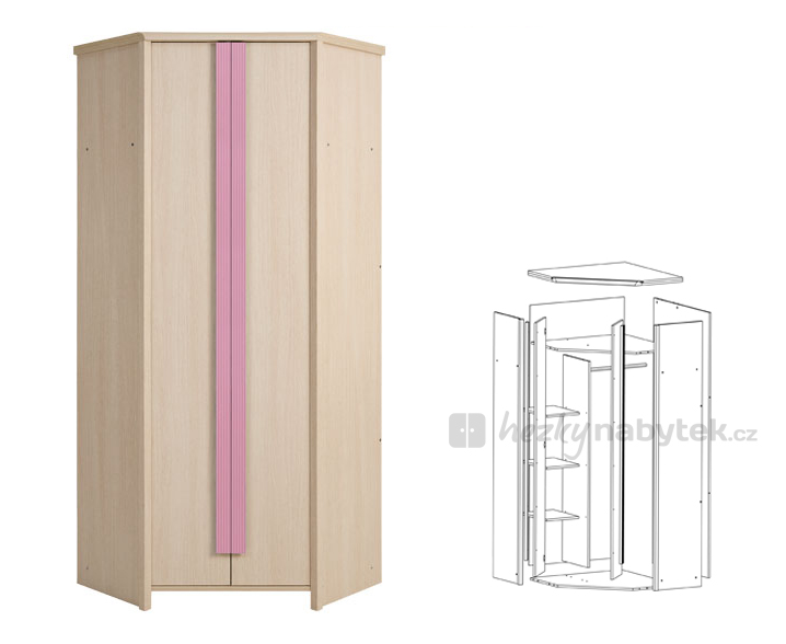 Rohová šatní skříň - BRW - Caps - SZFN2D